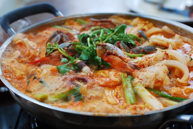 Korean Spicy Seafood Hot Pot (Haemul Jeongol)